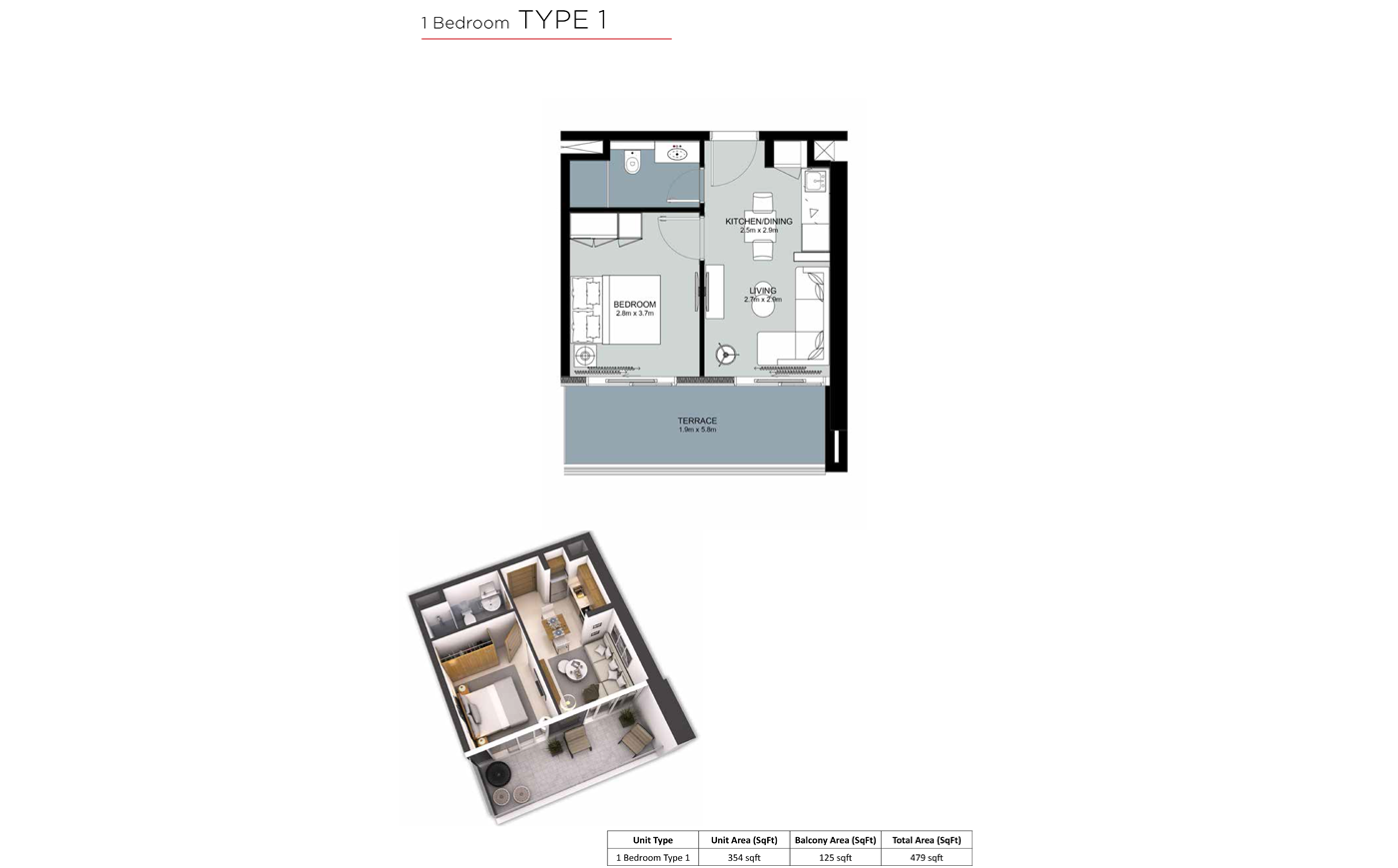 1 Bedroom Type 1 - 479 sq.ft.